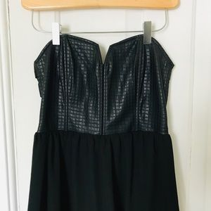 F21 faux-leather strapless dress